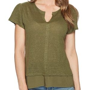 Sanctuary Olive Green short sleeve linen t-shirt